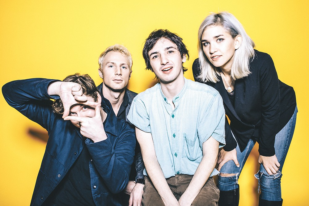 With its lineup solidified, Portland pop quartet the Hugs has become more than just a solo project for songwriter Danny Delegato (center). - SAM GEHRKE