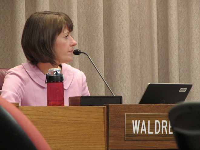 When things got heated in city hall, Amber Waldref helped calm them down - DANIEL WALTERS PHOTO