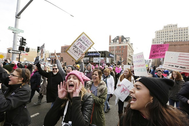 The 2017 Women's March drew thousands — but a 2018 march in Spokane was put in doubt last month - YOUNG KWAK PHOTO