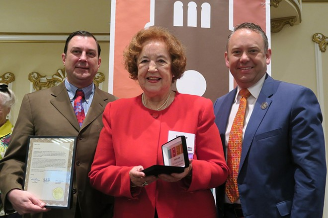 Jeanne Ager, 2016 Public Service and Philanthropy inductee, with City Council President Ben Stuckart (left) and Mayor David Condon. - COURTESY OF THE SPOKANE PUBLIC LIBRARY
