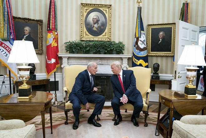 "John Kelly, the White House chief of staff, with President Donald Trump in the Oval Office of the White House in Washington, July, 31, 2017. Trump directly contradicted Kelly on Jan. 18, 2017, and said his position on building a wall between the United States and Mexico had not ""evolved."" - DOUG MILLS/THE NEW YORK TIMES"