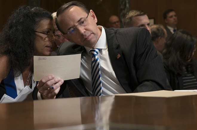 Deputy Attorney General Rod Rosenstein testifies before a Senate Appropriations subcommittee, on Capitol Hill in Washington, June 13, 2017. - STEPHEN CROWLEY/THE NEW YORK TIMES