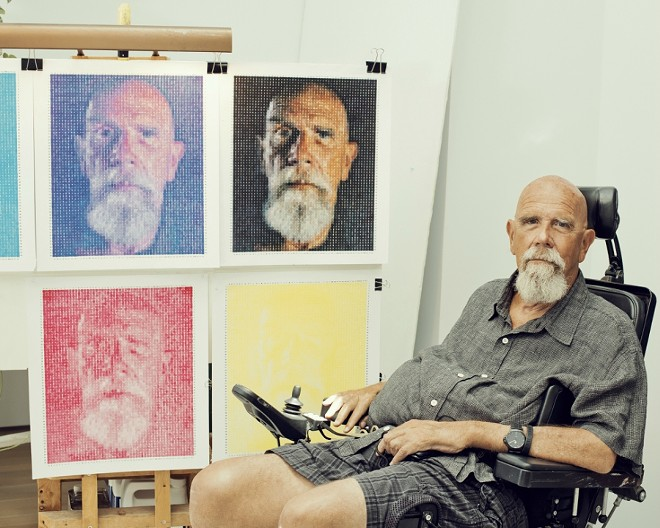 Chuck Close at his home in Long Beach, N.Y., June 17, 2016. The National Gallery of Art in Washington has canceled a Close exhibition, planned for May 2018, because of accusations of sexual misconduct that have engulfed the artist in controversy. - RYAN PFLUGER/THE NEW YORK TIMES