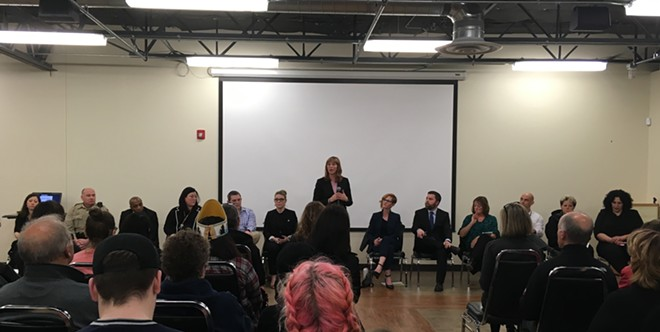 Dozens of people gathered at the Northeast Community Center Thursday night, Feb. 8, to hear from Spokane leaders and talk about what can be done to help survivors of sexual assault and harassment. - SAMANTHA WOHLFEIL PHOTO