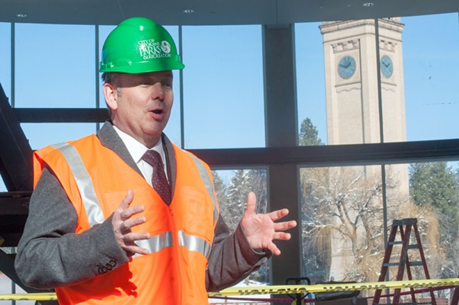 Mayor David Condon talks about the ongoing Riverfront Park construction - DANIEL WALTERS PHOTO