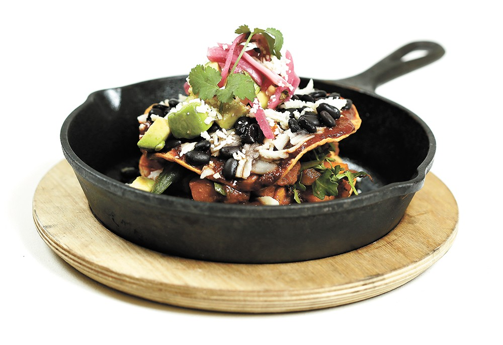 Clover's mushroom and winter squash chilaquiles