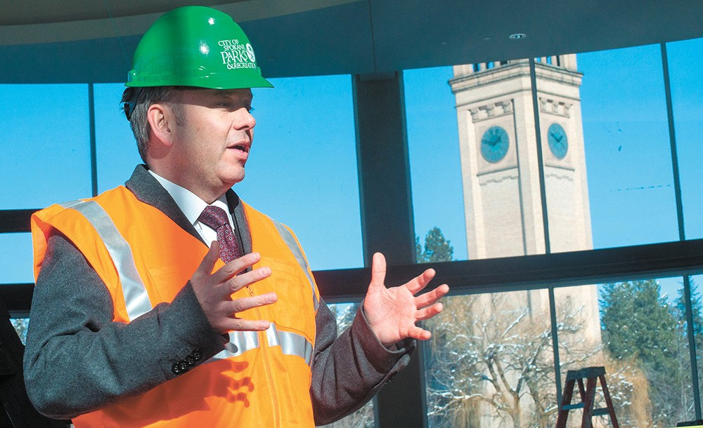 Mayor David Condon celebrates a $150,000 grant from the BNSF Railway Foundation to improve Riverfront Park. - DANIEL WALTERS