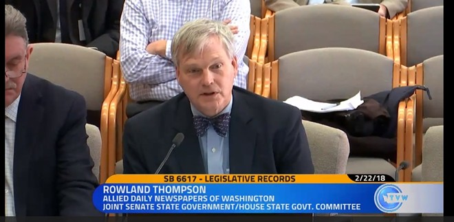 Allied Daily Newspaper Director Rowland Thompson not only looks like an impassioned Aaron Sorkin character, he argues the bill being rushed through the Legislature would continue to shroud the Legislature in secrecy. - TVW SCREENGRAB