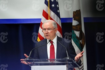 Attorney General Jeff Sessions addresses the annual meeting of the California Peace Officers Association in Sacramento, California, on Wednesday. - JIM WILSON/THE NEW YORK TIMES