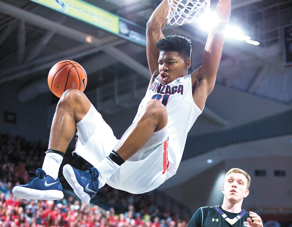 Japan-born Rui Hachimura will need to be a force for the Zags in this year's NCAA tournament. - LIBBY KAMROWSKI PHOTO