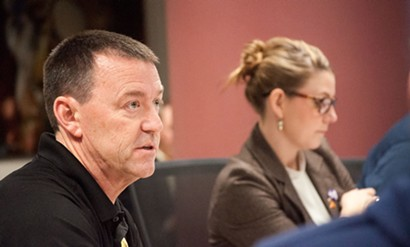 Sgt. John Gately at a city council work session with Councilwoman Kate Burke, who has publicly criticized the police department for continuing to employ Gately - DANIEL WALTERS PHOTO