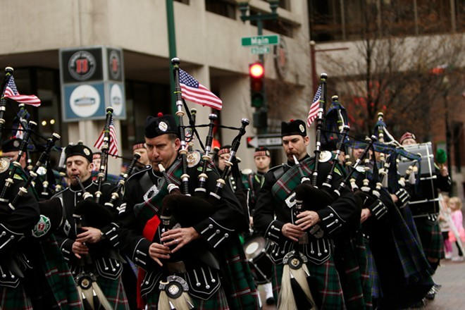 The Spokane County Firefighters Pipe and Drums perform in 2015. - YOUNG KWAK