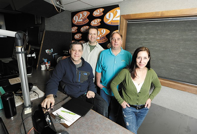 FROM LEFT: KZZU's Ken Hopkins, producer/host Dan Roberts, Dave Sposito and Molly Allen continue the station's winning ways. - YOUNG KWAK