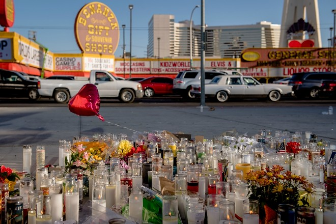 A memorial to the victims of the mass shooting in Las Vegas, Oct. 3, 2017. - HILARY SWIFT/THE NEW YORK TIMES