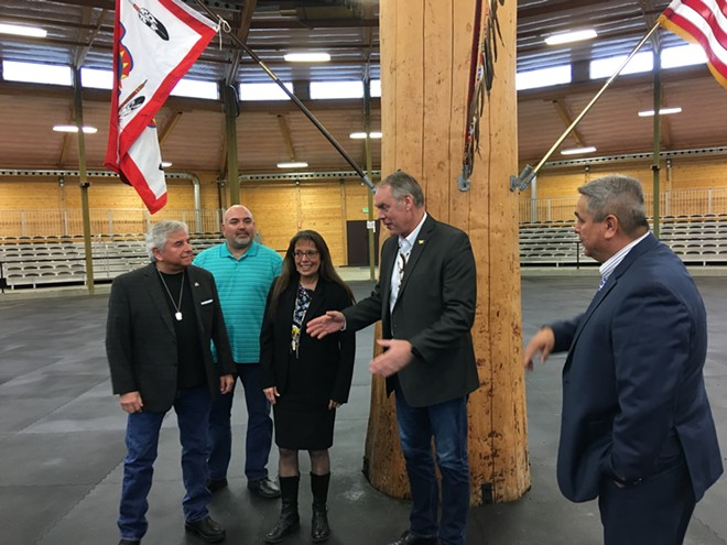 U.S. Secretary of the Interior Ryan Zinke speaks with leaders of the Spokane Tribal Business Council Thursday, March 22. - SAMANTHA WOHLFEIL PHOTO