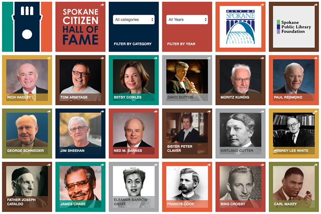 A snapshot of previous inductees into the Spokane Citizen Hall of Fame. - SCREENSHOT, SPOKANELIBRARY.ORG