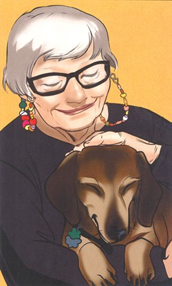 An illustration of Ruth Calkins and her dog Max from Max Goes to Africa.  - MARIEL HESTER ART