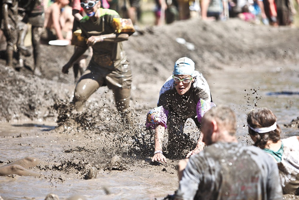 The Dirty Dash is annual 5K race on a mud-filled obstacle course inside Riverside State Park. - JORDAN BEAUCHAMP PHOTO