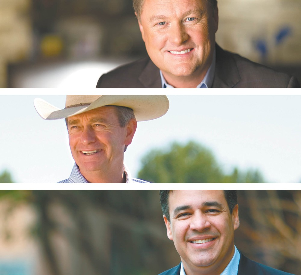 FROM TOP: Boise developer Tommy Ahlquist, Lt. Gov. Brad Little and Congressman Raúl Labrador.