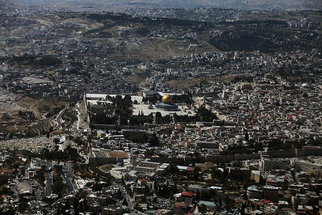 An aerial view of the Old City of Jerusalem. - RINA CASTELNUOVO/THE NEW YORK TIMES