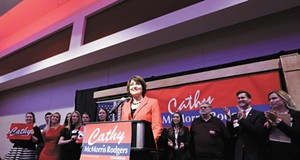 How can Cathy McMorris Rodgers portray her party's compassion when it is led by Donald Trump?