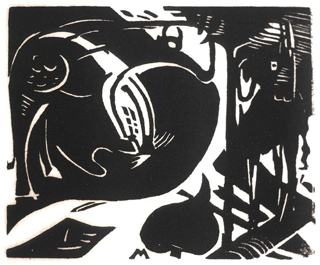 "Franz Marc (German, 1880–1916). ""Zwei Fabeltiere (Two Mythical Animals),"" 1914, Woodcut on paper"