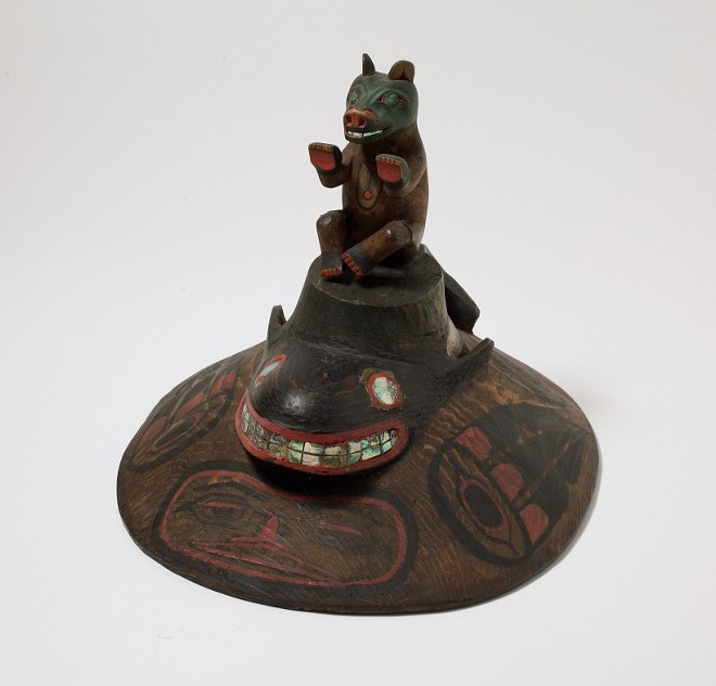 Tlingit Clan Leader Hat, Cedar, abalone shell, paint. Gift of Agnes McDonald, 1919.