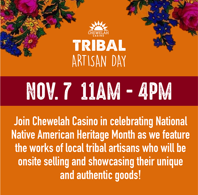 Tribal artisans and vendors may reserve table space by contacting the Sun Club at Chewelah Casino: (509) 935-6167