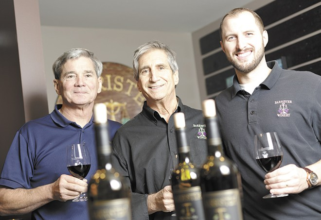 From left: Barrister Winery Owners Michael White, Greg Lipsker and Tyler Walters. - YOUNG KWAK