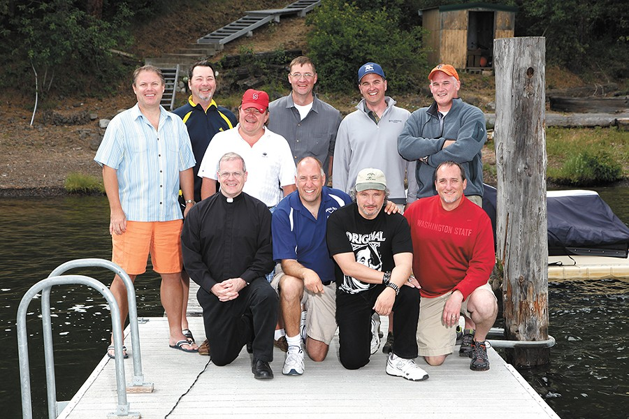 The Tag Brothers in 2013: (standing left to right) Mike Konesky, Bill Akers, Patrick Schultheis, Mark Mengert, Chris Ammann, Brian Dennehy; (kneeling left to right) Fr. Sean Raftis, Joe Tombari, Joey Caferro, Rick Bruya. - PHOTO COURTESY OF SEAN RAFTIS