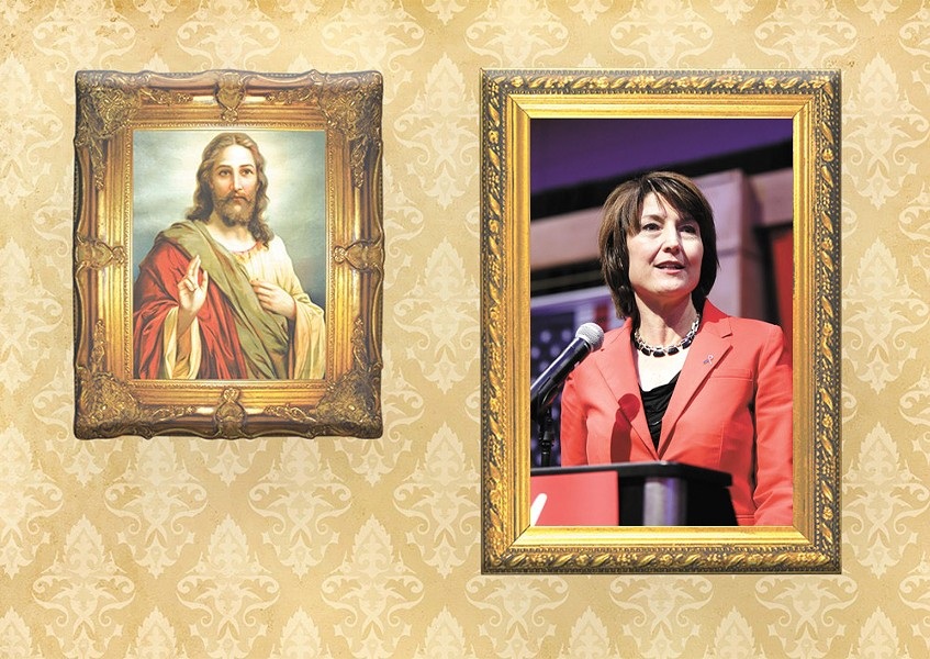 """""""President Trump has defended Christianity,"""" Rep. Cathy McMorris Rodgers says. """"He has defended religious freedom more than any other President."""" - DEREK HARRISON AND DANIEL WALTERS PHOTO ILLUSTRATION"""