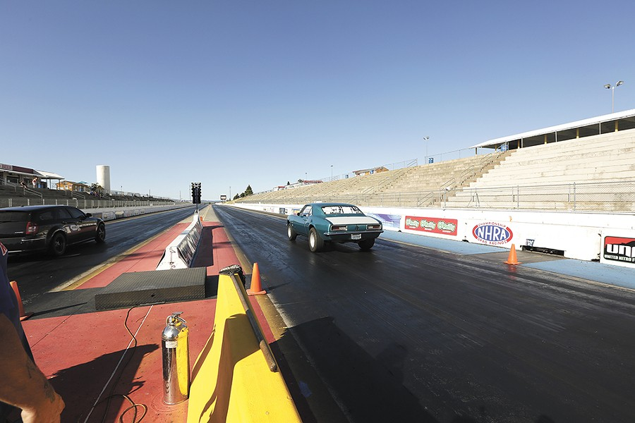 Jessica Boller flies down the track in her 1967 Chevrolet Camaro. - YOUNG KWAK
