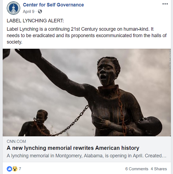"Mark Herr has frequently used the phrase ""label lynching"" on the Center for Self-Governance Facebook page. - CENTER FOR SELF GOVERNANCE FACEBOOK PAGE SCREENCAP"