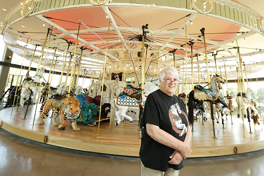 Bette Largent in the Looff Carrousel's new home. - YOUNG KWAK