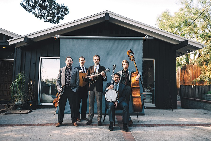 The world's a scary place, and the Punch Brothers' Chris Thile (center) wants to provide a musical pep talk. - JOSH GOLEMAN PHOTO