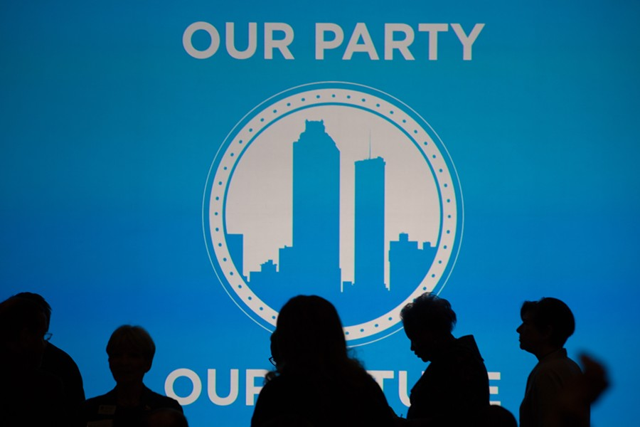 Silhouettes of guests at the Democratic National Convention's winter meeting at Atlanta Convention Center in Atlanta, Feb. 25, 2017. The FBI is investigating an unsuccessful hacking attempt on the DNC in August 2018, but the identities of the would-be hackers are unclear. - KEVIN D. LILES/THE NEW YORK TIMES