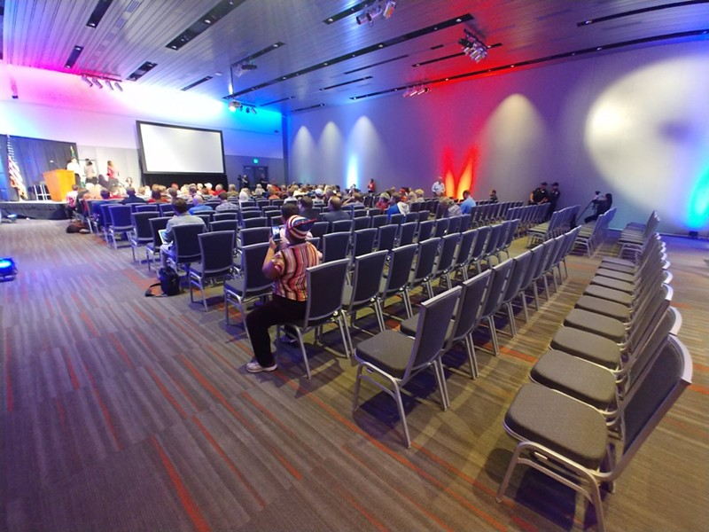 A mostly empty room minutes before McMorris Rodgers' town hall begins. - DANIEL WALTERS PHOTO