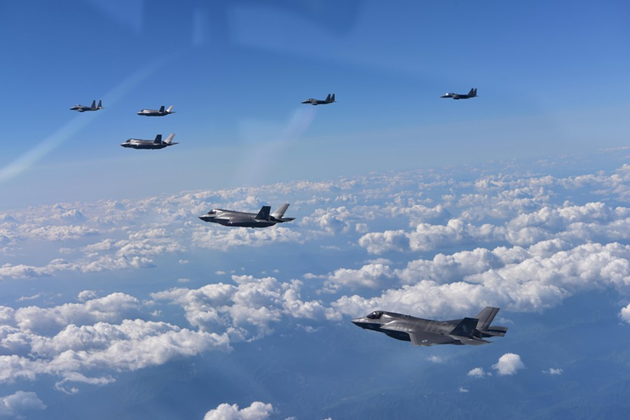In a photo provided by the Ministry of Defense of South Korea, South Korean F-15K fighter jets and American F-35B stealth jet fighters fly over South Korea during a joint military drill, Aug. 31, 2017. The Pentagon has no plans to suspend additional joint military exercises on the Korean Peninsula, Defense Secretary Jim Mattis said on Aug. 287, 2018, in another indication that the diplomatic thaw between Washington and Pyongyang may be in trouble. - SOUTH KOREAN DEFENSE MINISTRY VIA THE NEW YORK TIMES