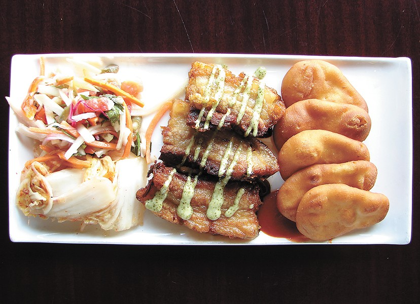 Global Kitchen's pork belly with sides of kimchi and naan bread. - CARRIE SCOZZARO PHOTO