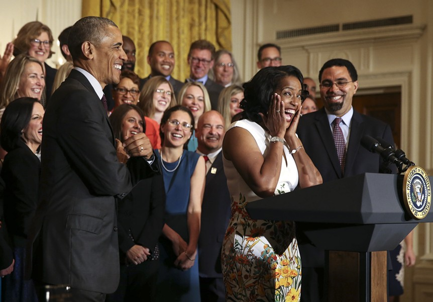 Jahana Hayes reacts during a ceremony where she was named 2016 National Teacher of the Year by President Barack Obama in the East Room of the White House in Washington, May, 3, 2016. The Connecticut educator who won a primary for congress last month produced a video for less than $20,000 that brought in $300,000 in donations after going viral. - DOUG MILLS/ THE NEW YORK TIMES