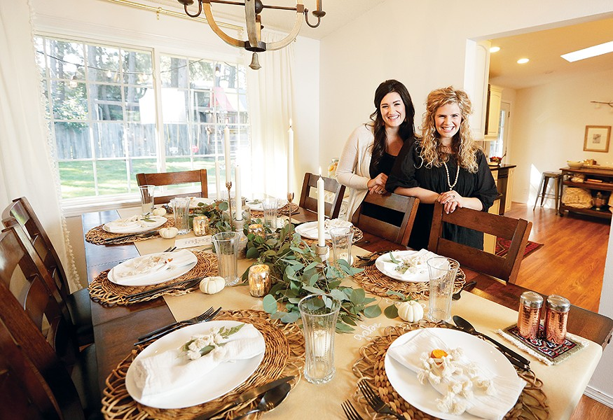 Haven + Pine's Ginny Taylor (right) and Meghan Mollahan prefer to keep center of table decor low so that guests an see each other. - YOUNG KWAK PHOTO