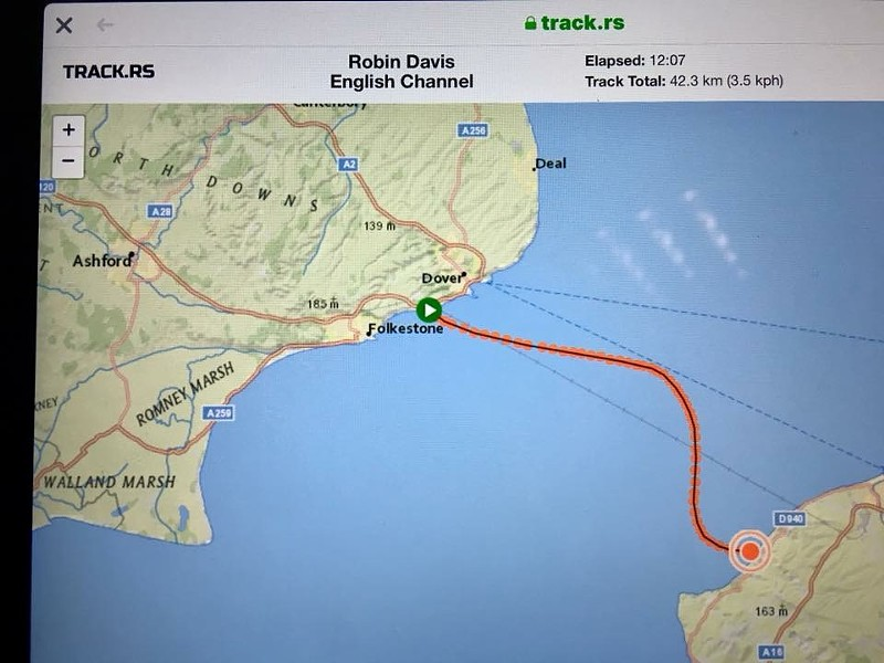 The route of the 26.2-mile swim across the English Channel.