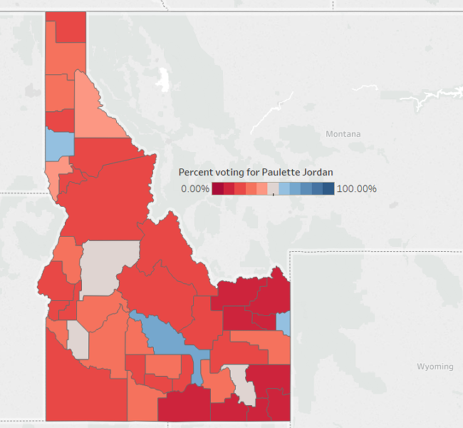 Paulette Jordan struggled to break 50 percent anywhere in Idaho - DANIEL WALTERS DATA VISUALIZATION