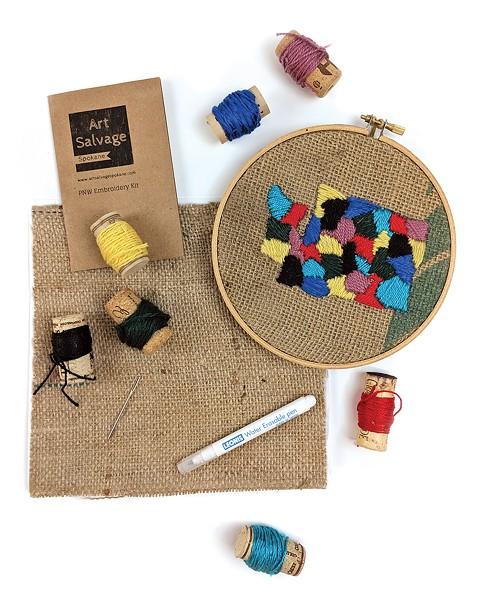 PNW embroidery kit ($24) — you can make Washington, Idaho Oregon or Montana.
