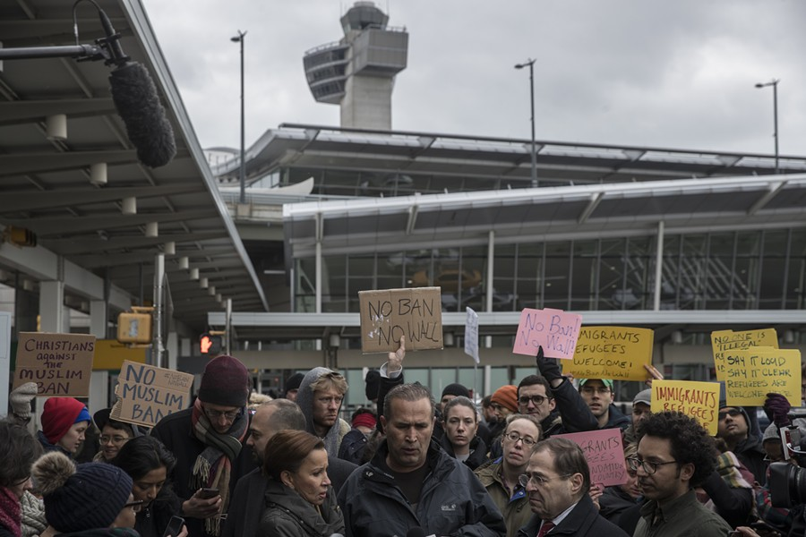 """Rep. Jerrold Nadler (D-N.Y.), second from right, participates in a protest against the Trump administration's travel ban at John F. Kennedy International Airport in New York, Jan. 28, 2017. Nadler, under heavy pressure from Democrats, has already begun drawing up ambitious plans for how to use his power as the leader of the House Judiciary Committee — and for now the only """"I"""" word they include is immigration. - VICTOR J. BLUE/THE NEW YORK TIMES"""