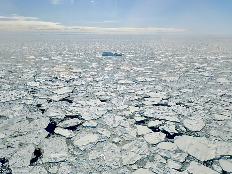 In a photo from NASA, sea ice along Greenland's coast, April 27, 2018. The Arctic has been warmer in the past five years than at any time in the modern era, scientists said. The effects can be felt far beyond the region. - JOE MACGREGOR/NASA ICEBRIDGE VIA THE NEW YORK TIMES