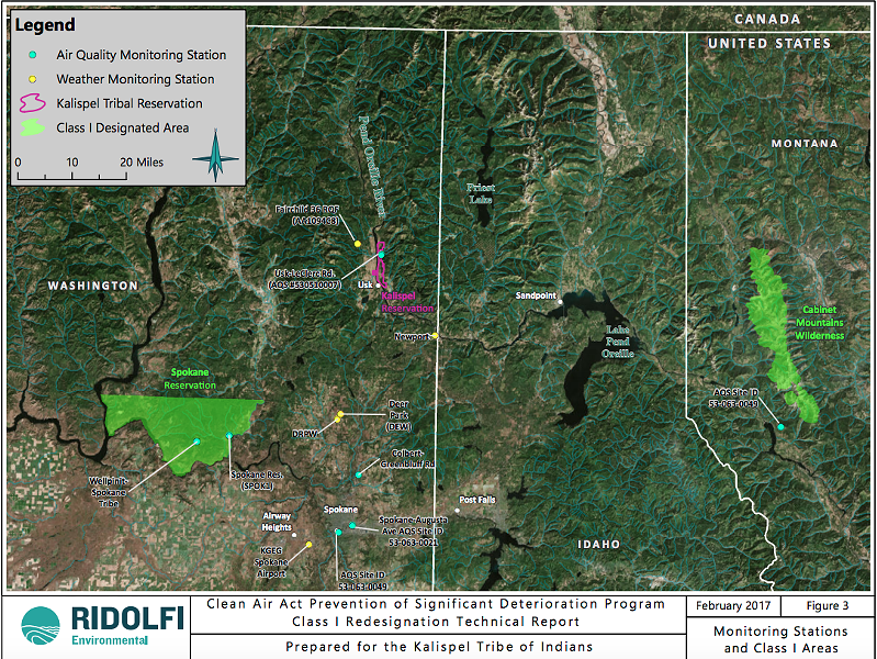 A map prepared by Ridolfi Environmental for the Kalispel Tribe of Indians' redesignation to Class I air over the reservation shows where air monitoring and other Class I space already exists. - KALISPEL TRIBE OF INDIANS/RIDOLFI ENVIRONMENTAL