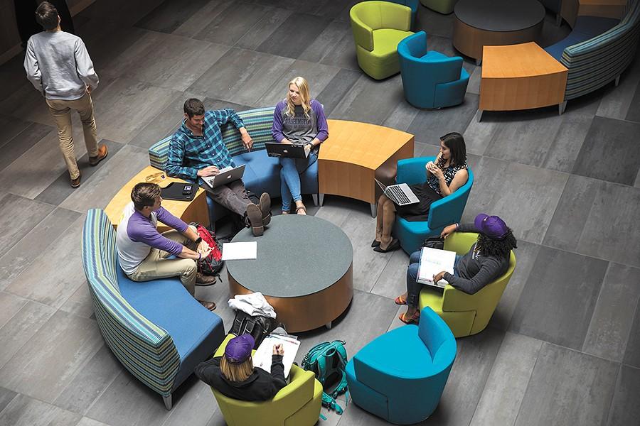 University of Washington medical students hard at work on the Gonzaga University campus. - UW PHOTO