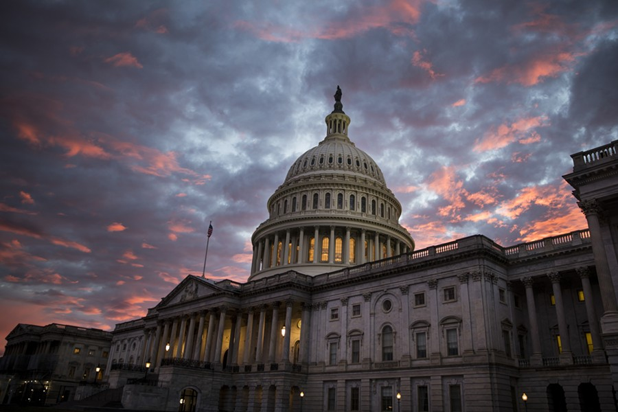 The Capitol building at sunset in Washington, Nov. 6, 2018. The federal budget deficit continued to rise in the first quarter of fiscal 2019 and is on pace to top $1 trillion for the year, as President Donald Trump's signature tax cuts continue to reduce corporate tax revenue, data released on Jan. 8, 2019, shows. - SARAH SILBIGER/THE NEW YORK TIMES