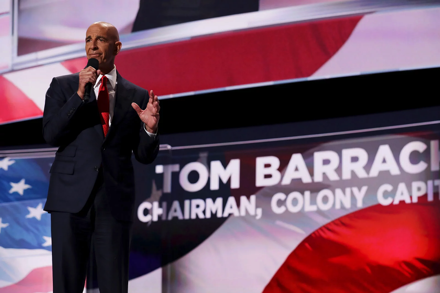 Tom Barrack delivers a speech at the Republican National Convention on July 21, 2016, in Cleveland, Ohio. - CHIP SOMODEVILLA/GETTY IMAGES